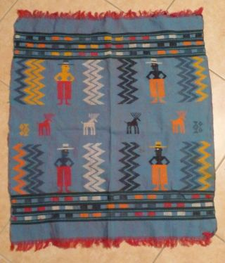 Vintage Ethnic Tribal Vintage Cloth Textile Weaving Black Man In A Top Hat Deer photo