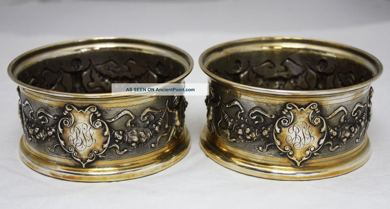 Pair Continental 800 Silver Renaissance Style Bottle Coasters Dish Austria C1880 Germany photo