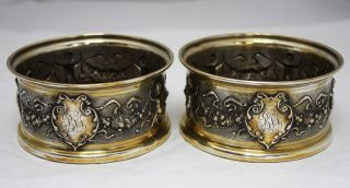 Pair Continental 800 Silver Renaissance Style Bottle Coasters Dish Austria C1880 photo