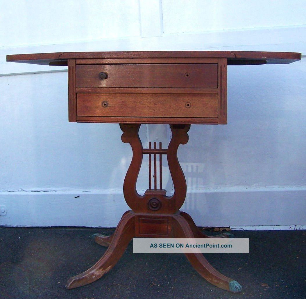 Vintage Antique Old Duncan Phyfe Claw Feet Drop Leaf Side Nightstand - Needs Tlc Unknown photo