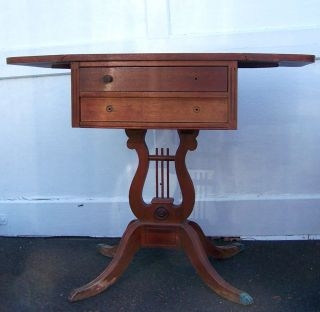 Vintage Antique Old Duncan Phyfe Claw Feet Drop Leaf Side Nightstand - Needs Tlc photo