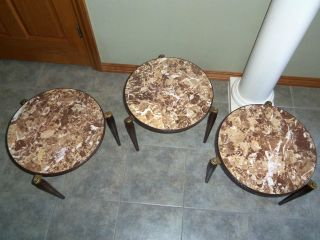 Set Of 3 Vntg Retro Mid Century Mod Faux Marble Formica Stacking Nesting Tables photo