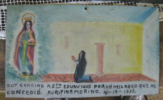 Exvoto/retablo On Tin Man Thanking Saint Edwuiges For Miracle Performe photo
