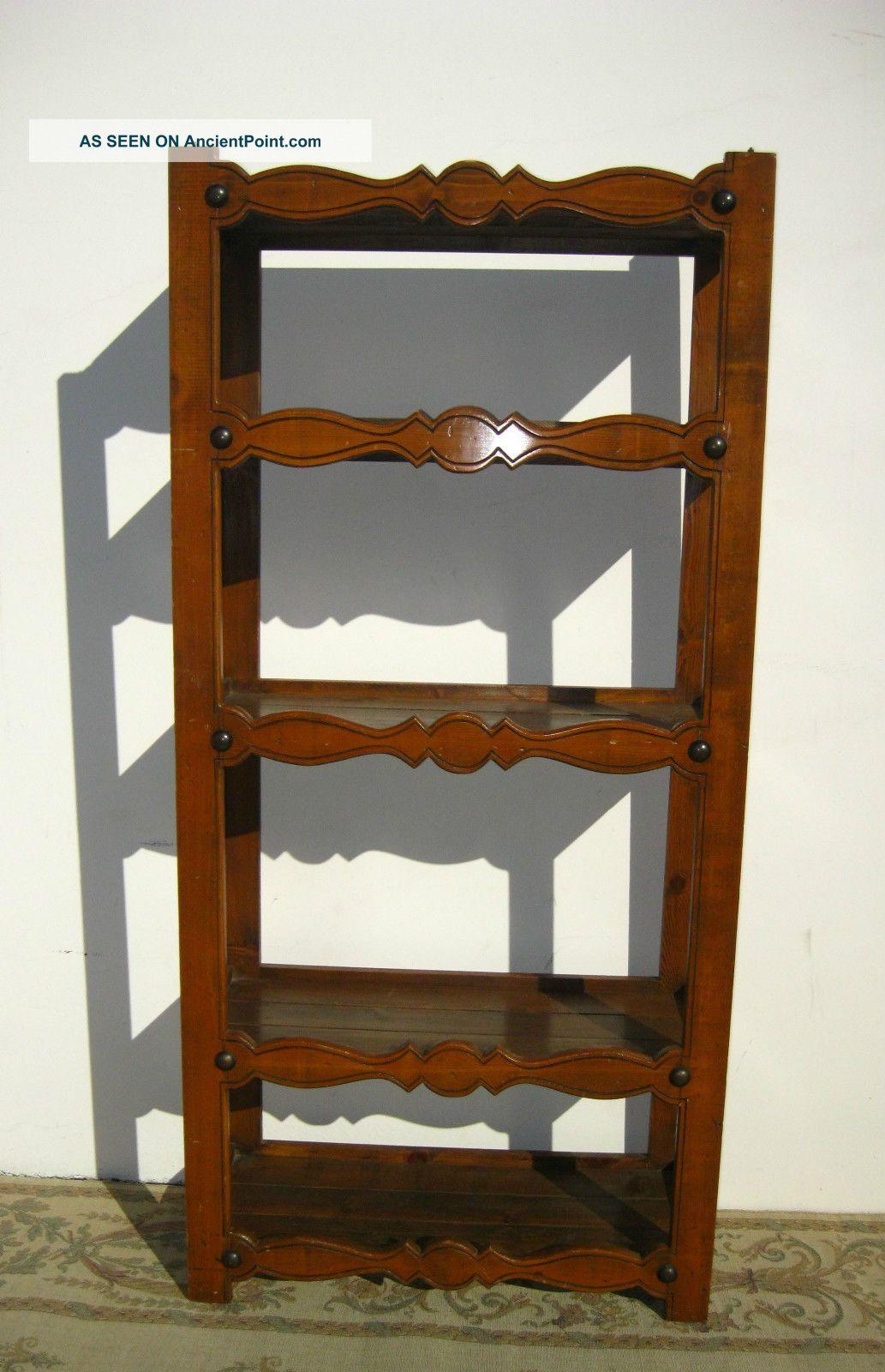 Vintage Rustic Spanish Style Wood Bookcase Bookshelf