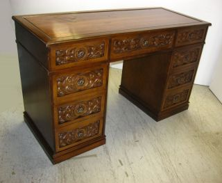 Vintage Spanish Revival Style Writing Desk Partners Computer Desk Carved photo