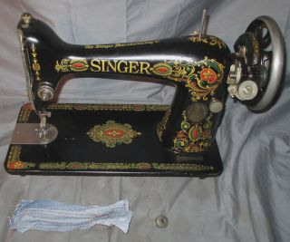 Serviced Antique 1920 Singer 66 - 1 Red Eye Treadle Sewing Machine Works See Video photo