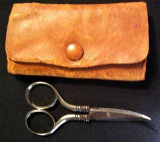 Antique Hallmarked Sterling Silver Scissors 19.  5 G In Leather Case,  Gorham photo