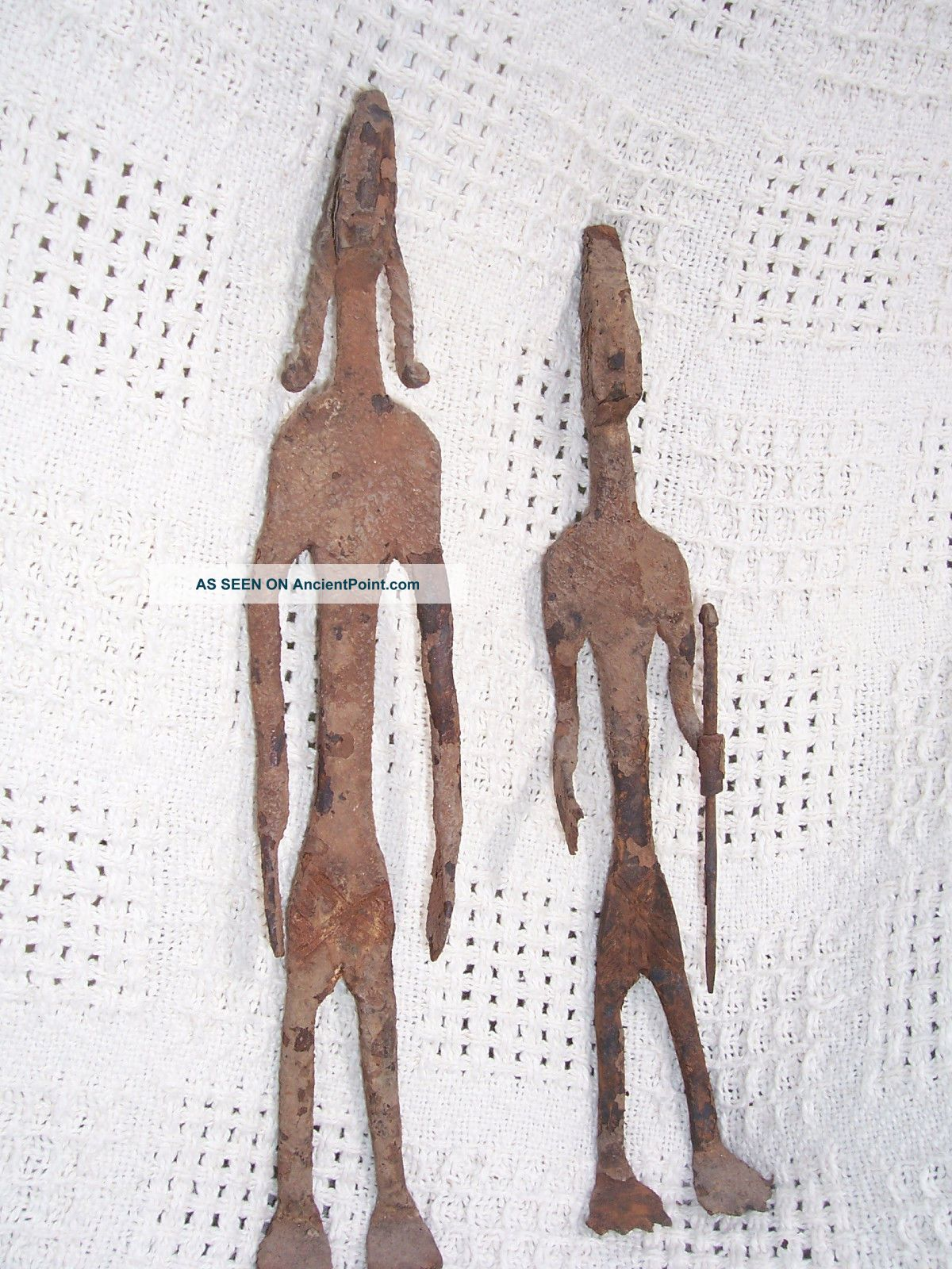 African Dogon Forged Iron Figures One Holding Spear One With Braids Other photo