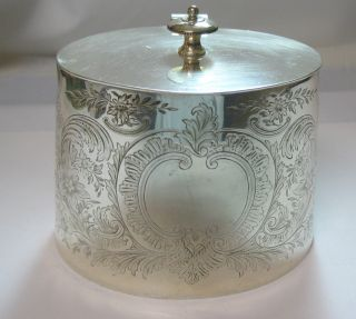 Circa 1860's Elkington & Co.  Fine Engraved Victorian Era Silver Plate Caddy photo