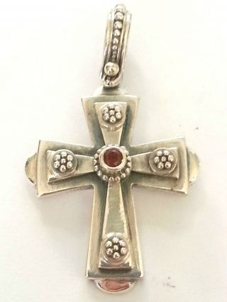 Medieval Solid Sterling Silver - Byzantine Cross Pendant With Ruby photo