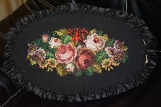 Antique Victorian Beaded & Embroidered Pillow photo