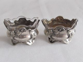 Art Nouveau Set Two Antique Sterling Silver Open Salt France 1900 photo