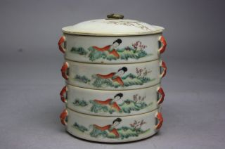 19th C.  Chinese Four Stacking Famille - Rose Covered Boxes photo