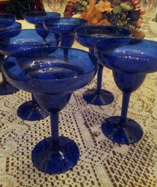 8 Vtg Cobalt Blue Depression Handcrafted Crystal Daiquiri Glasses 6 1/8