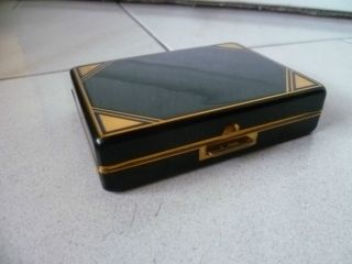 Vintage French Metal Hand Powder Box + Mirror + Lipstik Holder photo