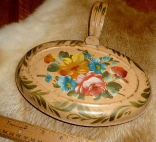 Antique Pennsylvania Dutch Tole Painted Chestnut Roaster Painted Tin Rare photo