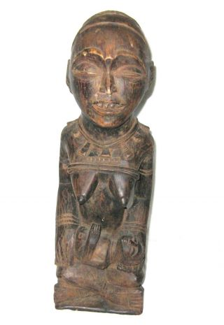 Antique African Tribal Art Wood Carving,  Mother And Child 16 3/4