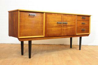 Retro Mid Century 2 Tone Credenza/media Cabinet With Black Legs.  Mcm.  Vintage. photo