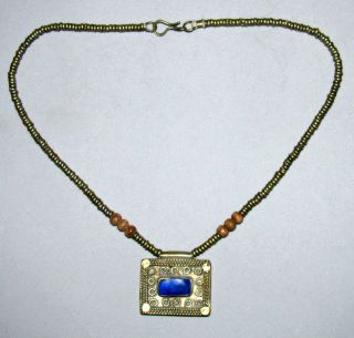 Old Ethiopian Beaded Lapis Pendant Silver Metal Necklace Strand photo