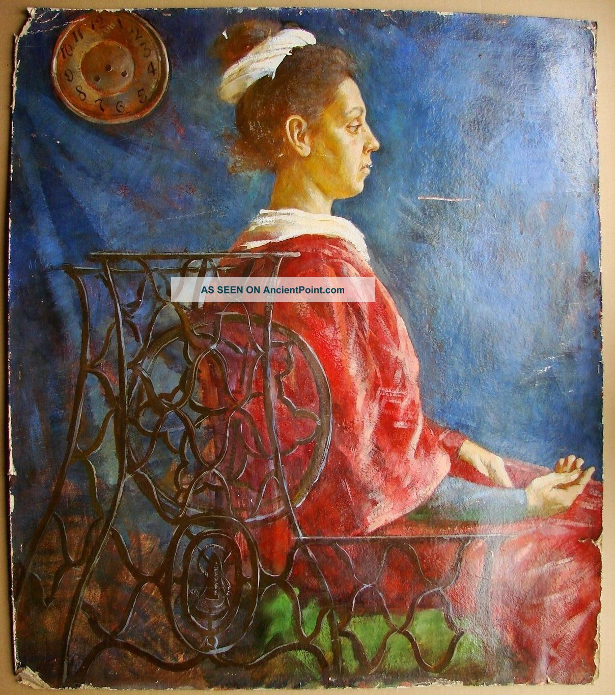 Russian Soviet Oil Painting Portrait Needle Woman Historical Singer Machine Sewing Machines photo