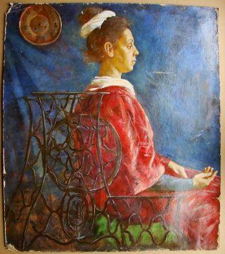 Russian Soviet Oil Painting Portrait Needle Woman Historical Singer Machine photo