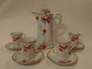 Vintage Antique Porcelain Japanese Chocolate Pot,  Cups & Saucers Coffee Teapot photo
