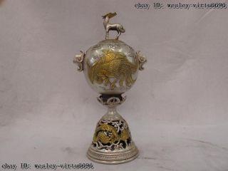 11 Chinese Palace White Copper Silver Gild Dragon Phoenix Lanterns Pot Vase photo