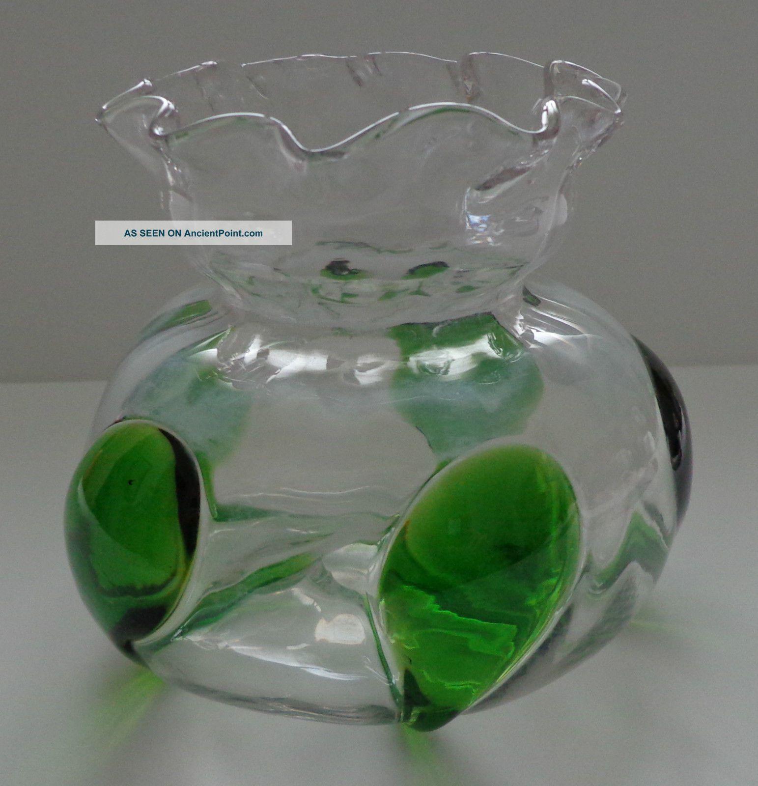 Antique Harrach Glass Rose Bowl Vase Peacock Blown Art