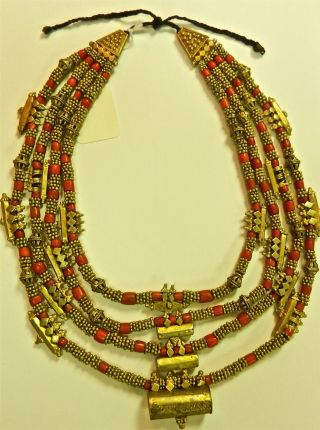 Antique/ Vintage Yemeni Four Strand Gilt Coin Silver And Coral Necklace photo