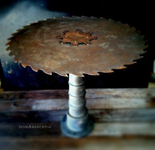 Antique Industrial Table,  Vtg Cast Iron/metal Steampunk Factory Gear Decor Art photo