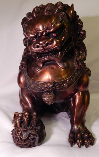 Finely Gild Carved China Red Bronze Guard Foo Dogs Lion Statue Great Patina photo