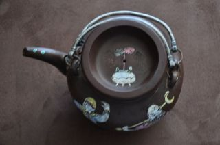 Chinese Antique Yixing Zisha Clay Enamded Teapot 19thc photo