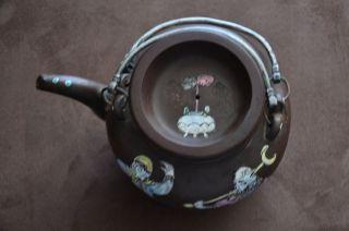 Chinese Antique Yixing Zisha Clay Enamded Teapot 19thc photo