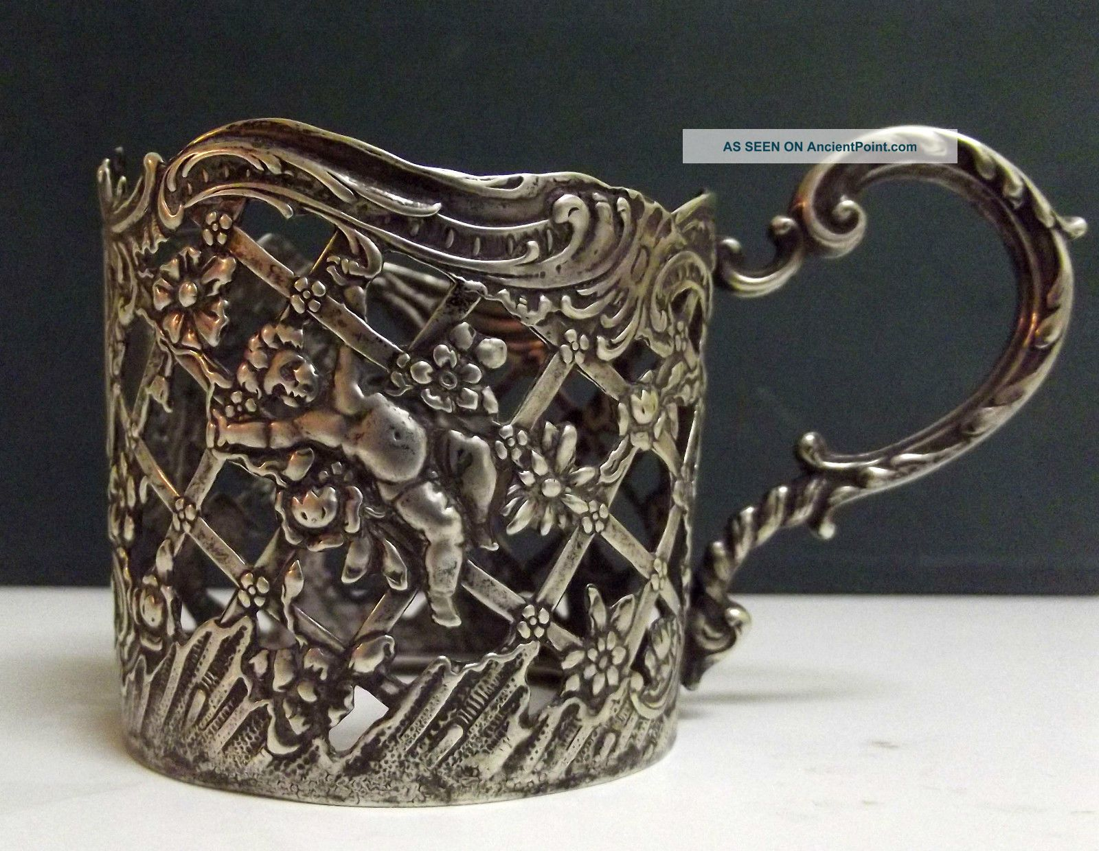 Gorgeous Vintage Silver 800 Glass Holder Germany - Circa 1900 Germany photo