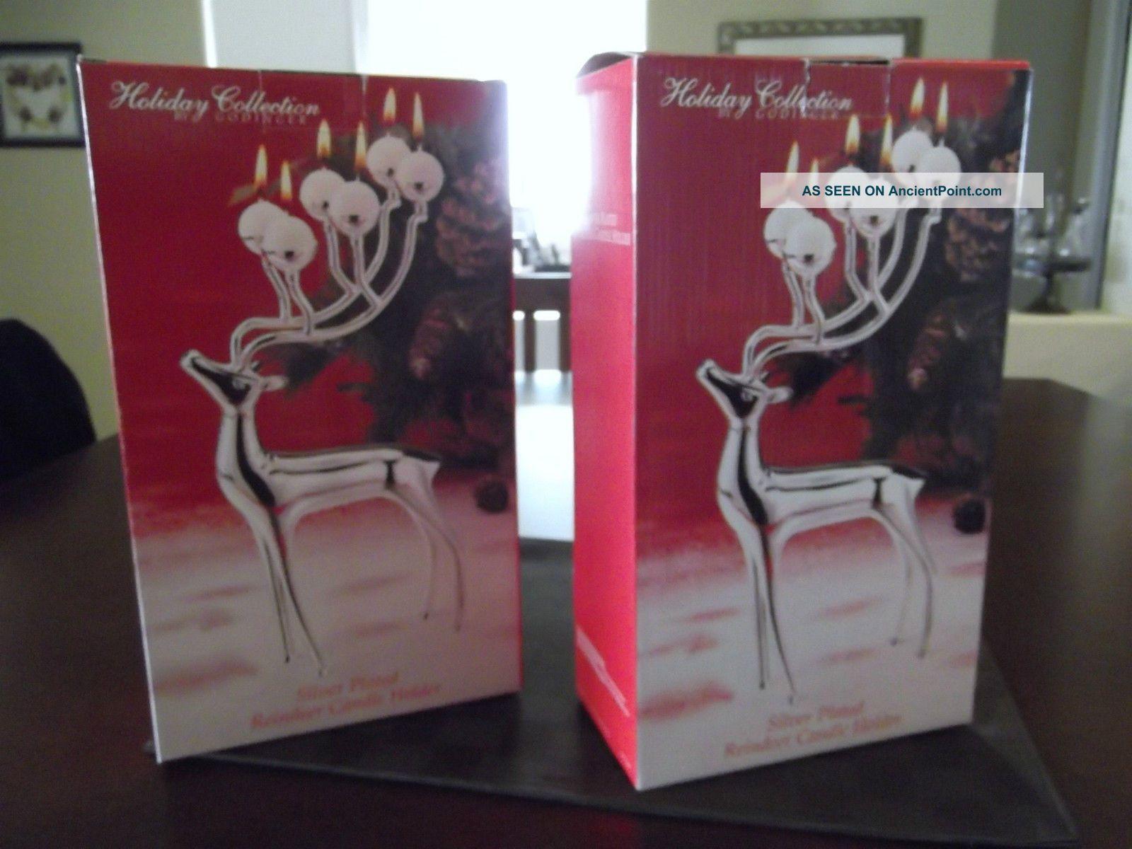 Godinger Silver Plated,  Metal Reindeer Candle Holders / Set Of 2 Candlesticks & Candelabra photo