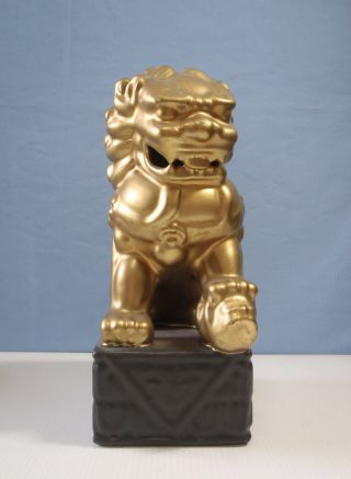 Rare Vintage Ceramic Temple ' Gold ' Foo Dog Circa Mid 1900s C photo