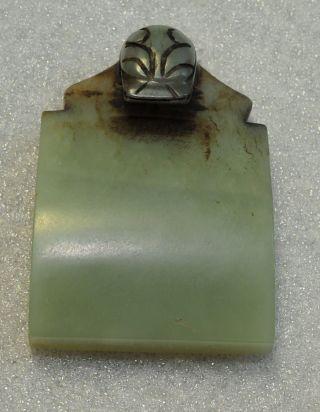 Chinese Rare Old Celedon Nephrite Jade Carved Belt Hook photo