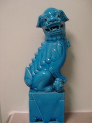 Estate Find 2 Turquoise - Colored Chinese Foo Dogs 14