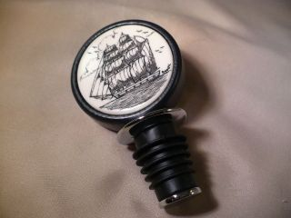 Scrimshaw Resin / Wood Wine Stopper Side Ship photo