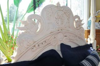 Custom Painted Bed Solid Mahogany Queen Size photo
