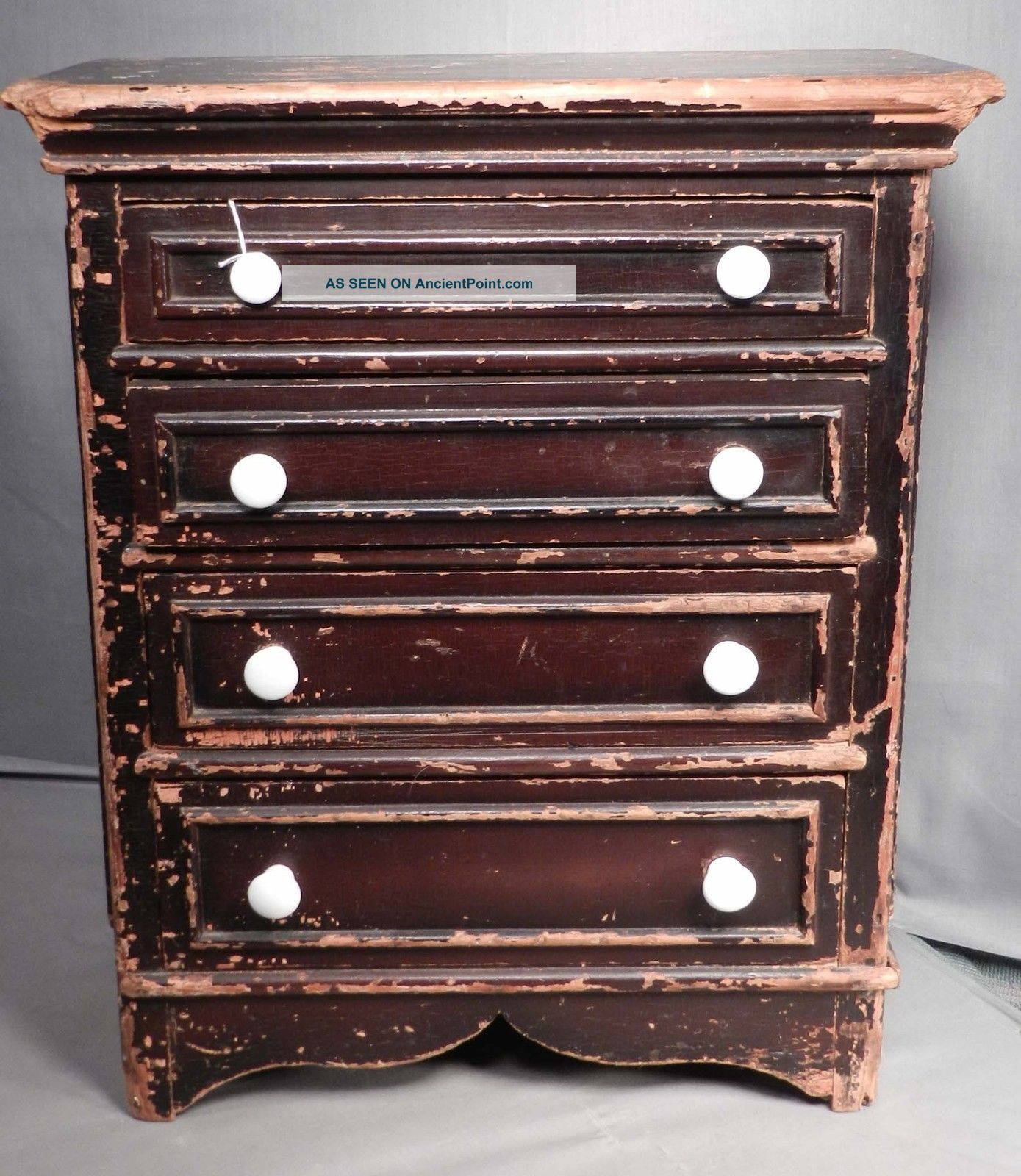 Antique American Grain Painted Miniature Chest Of Drawers Pennsylvania Early 1800-1899 photo