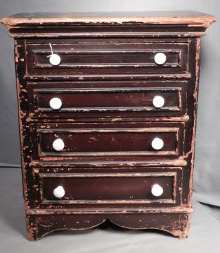 Antique American Grain Painted Miniature Chest Of Drawers Pennsylvania Early photo