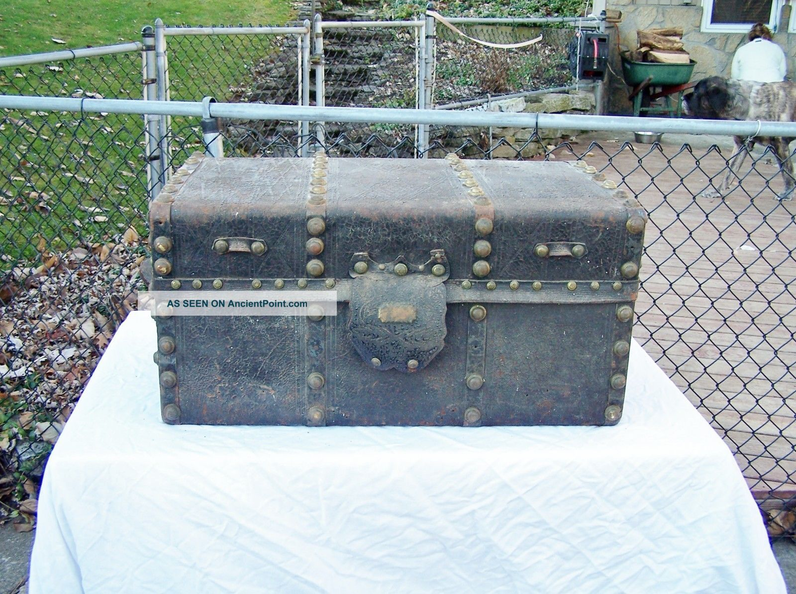 Antique Stage Coach Trunk Steamer Chest Jenny Lind? 1800-1899 photo