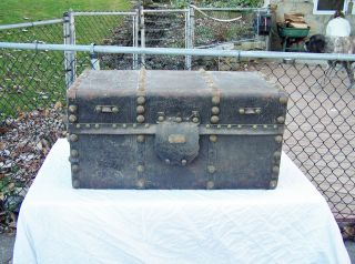 Antique Stage Coach Trunk Steamer Chest Jenny Lind? photo