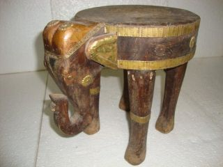 19 C Rare Handmade Brass Fitted Unique Wooden Elephant Kids Sitting Stool photo