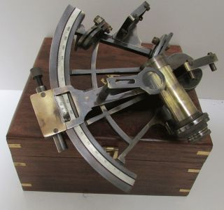 7 In Antiqued Brass Sextant With Box For More Good Info. photo