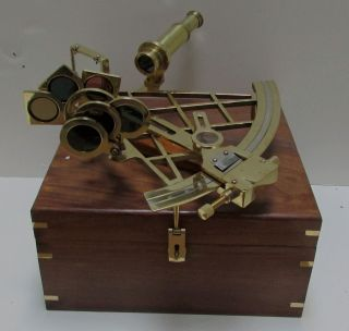Working Ross London Brass 10in Slow Motion Adjuster Sextant W Box photo