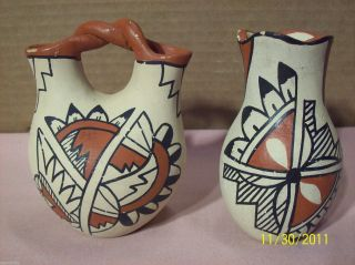 Vintage Jemez 2 Native American Indian Pottery Signed Vases Wedding Vase + One photo