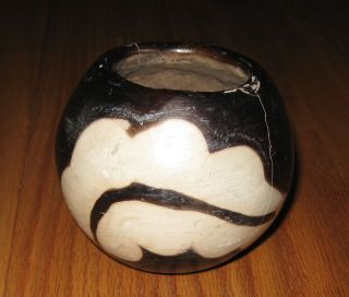 Pre - Columbian? Black/white Smooth Finish Painted 4