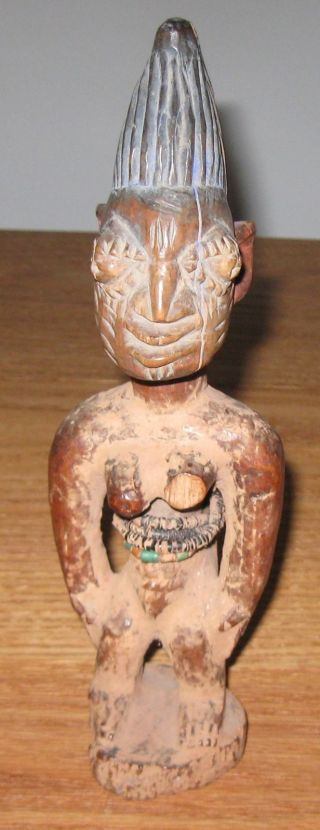 Antique Yoruba Ibeji Twin Figure Trade Beads/pigment Worm Holes Patina 10.  5 photo